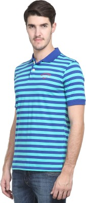 Kingswood Striped Men's Polo Neck Dark Blue T-Shirt