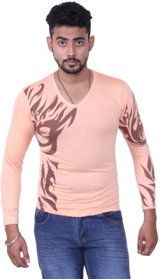 Austrich Graphic Print Men's V-neck Orange T-Shirt