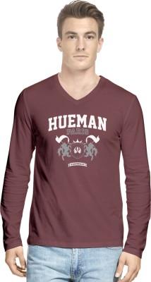 Hueman Printed Men's V-neck Maroon T-Shirt