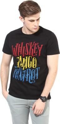 White Kalia Printed Men,s Round Neck Black T-Shirt