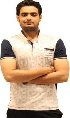 GOPAL EMPORIUM Printed Men's Mandarin Collar White T-Shirt