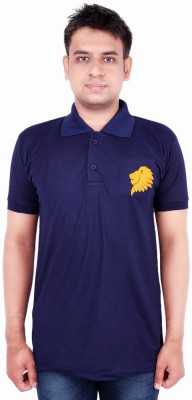 Xensa Embroidered Men's Polo Neck Dark Blue T-Shirt