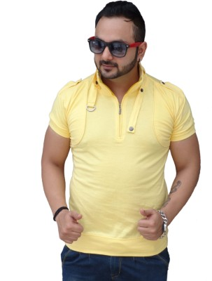 Black Collection Solid Men's Flap Collar Neck Yellow T-Shirt