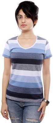 Viral Lifestyle Striped Women's Round Neck Blue T-Shirt