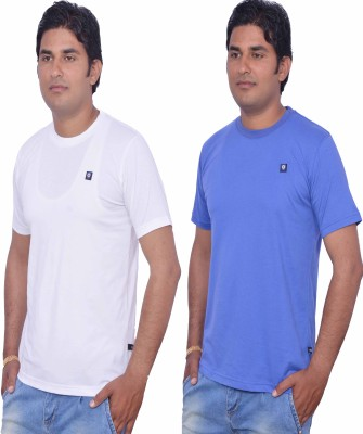 LEAF Solid Men's Round Neck White, Light Blue T-Shirt