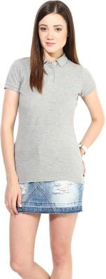 Calgari Solid Women's Polo Neck Grey T-Shirt