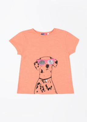Nauti Nati Printed Girl's Round Neck Orange T-Shirt