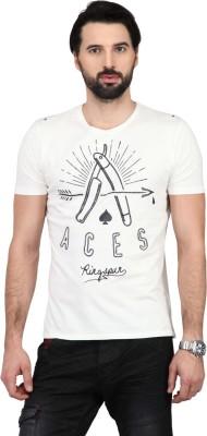 Ringspun Graphic Print Men's Round Neck White T-Shirt