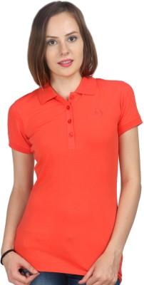 Oriel Merton Solid Women's Polo Red T-Shirt