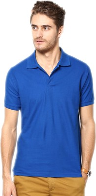 Concepts Solid Mens Polo Neck Dark Blue T-Shirt