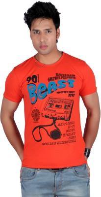 Raves Printed Men's Round Neck Orange T-Shirt