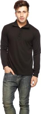 Gritstones Solid Men's Turtle Neck Black T-Shirt