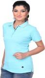 Vriksh Solid Women's Polo Neck Blue T-Sh...