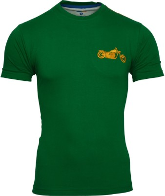 Humtees Solid Men's Round Neck Green T-Shirt
