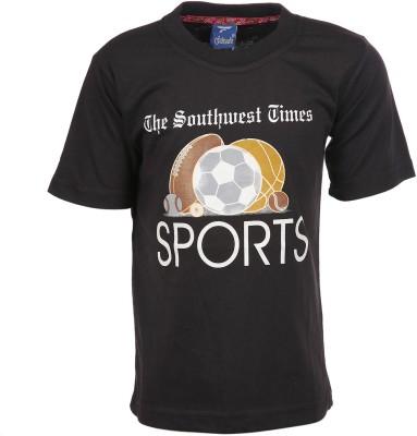 Sweet Angel Printed Boy's Round Neck Black T-Shirt