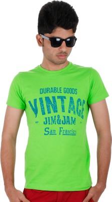 Faraday Printed Men,s Round Neck Green T-Shirt