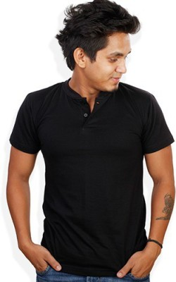 Evermore Stores Solid Men's Henley Black T-Shirt