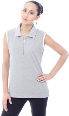 Unicolr Solid Women's Polo Neck Grey, White T-Shirt
