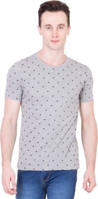 Ganzm Printed Men's Round Neck Grey T-Shirt