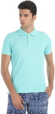 Zobello Solid Men's Polo Neck Blue T-Shirt