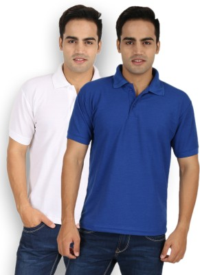Larwa Solid Men's Polo Neck Blue, White T-Shirt