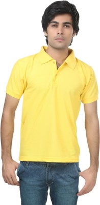 Stylish Trotters Solid Men's Polo Yellow T-Shirt