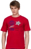 Nuteez Printed Men's Round Neck Red T-Sh...
