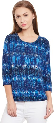 Purys Printed Women,s Round Neck Blue T-Shirt