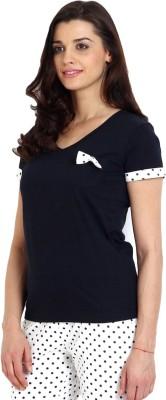 Slumber Jill Solid Women,s V-neck Blue T-Shirt
