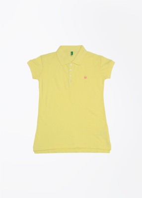 United Colors of Benetton Solid Girl's Polo Yellow T-Shirt