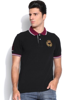 Harvard Solid Men's Polo Neck Black T-Shirt