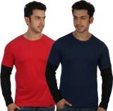 Rigo Solid Men's Round Neck Red, Blue T-...