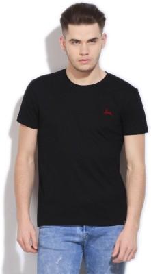 Deer Park Solid Men's Round Neck Black T-Shirt
