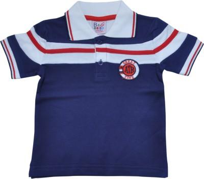 BG Casuals Solid Boy's Polo Neck Dark Blue, White T-Shirt