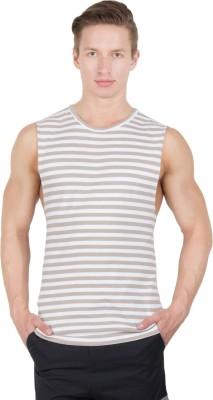 Hypernation Striped Men's Round Neck White, Beige T-Shirt