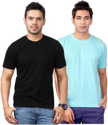 Top Notch Solid Men's Round Neck Black, Light Blue T-Shirt