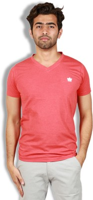 Goswhit Solid Men's V-neck Red T-Shirt
