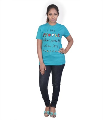 Auraa Printed Women's Round Neck Light Blue T-Shirt