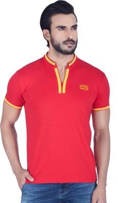 Lawman Solid Men's V-neck Red T-Shirt