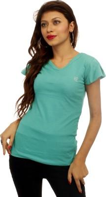 Adam N Eve Solid Women's V-neck Light Green T-Shirt