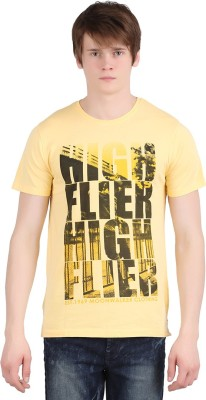 Moonwalker Printed Men's Round Neck Yellow T-Shirt