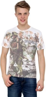 Era of Attitude Printed Men's Round Neck White T-Shirt