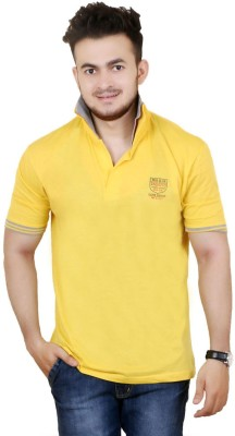 Zrestha Solid Men's Polo Neck Yellow T-Shirt