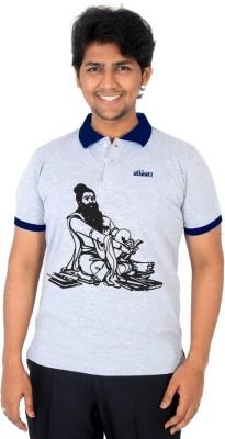 Vilva Printed Men's Polo Neck Grey, Dark Blue T-Shirt