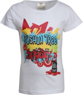 Joshua Tree Printed Girl's Round Neck White T-Shirt