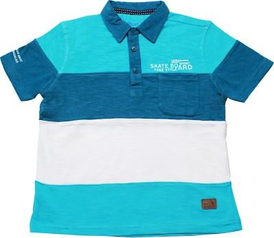 Blue Giraffe Striped Boy's Polo Neck Blue T-Shirt