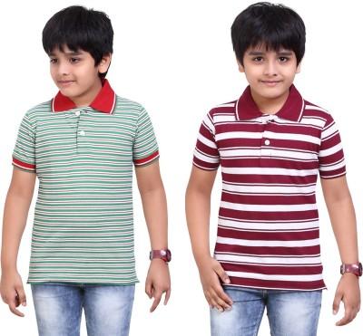 Dongli Striped Baby Boy's Polo Neck Green, Maroon T-Shirt