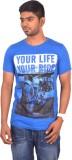 Rogue Printed Men's Round Neck Light Blu...