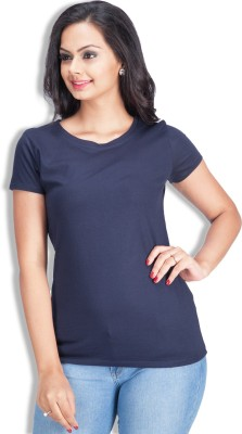 Colsa Solid Women's Round Neck Dark Blue T-Shirt