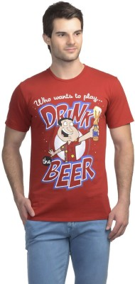 Family Guy Printed Men's Round Neck Red T-Shirt